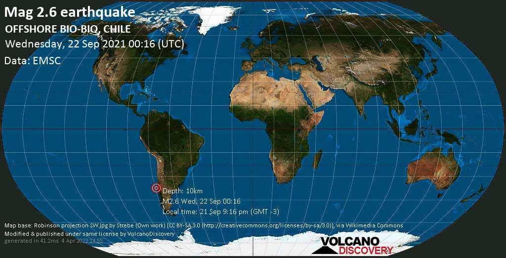 Schwaches Erdbeben Stärke 2.6 - South Pacific Ocean, 36 km südwestlich von Concepción, Provincia de Concepcion, Region del Biobio, Chile, am Dienstag, 21. Sep 2021 um 21:16 Lokalzeit
