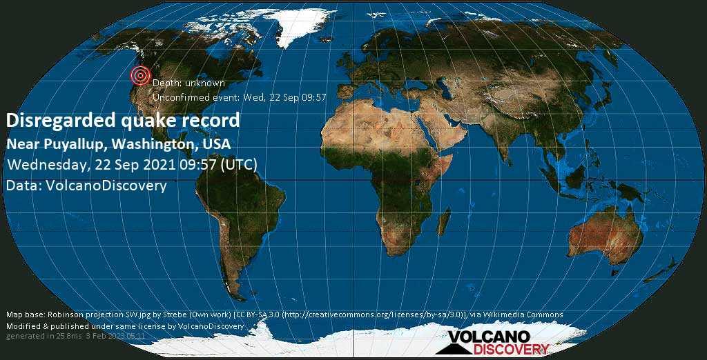 Reported seismic-like event (likely no quake): 5.1 mi southwest of Puyallup, Pierce County, Washington, USA, Sep 22, 2021 2:57 am (GMT -7)