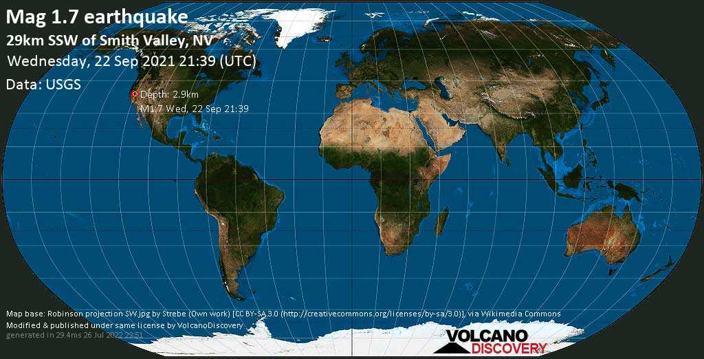 Minor mag. 1.7 earthquake - 29km SSW of Smith Valley, NV, on Wednesday, Sep 22, 2021 2:39 pm (GMT -7)