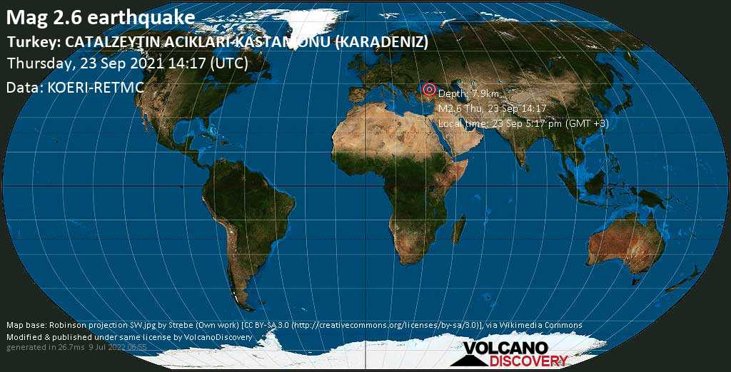 Weak mag. 2.6 earthquake - Black Sea, 21 km northwest of Ayancık, Sinop, Turkey, on Thursday, Sep 23, 2021 5:17 pm (GMT +3)