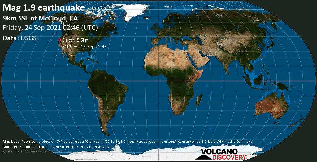 Minor mag. 1.9 earthquake - 9km SSE of McCloud, CA, on Thursday, Sep 23, 2021 7:46 pm (GMT -7)