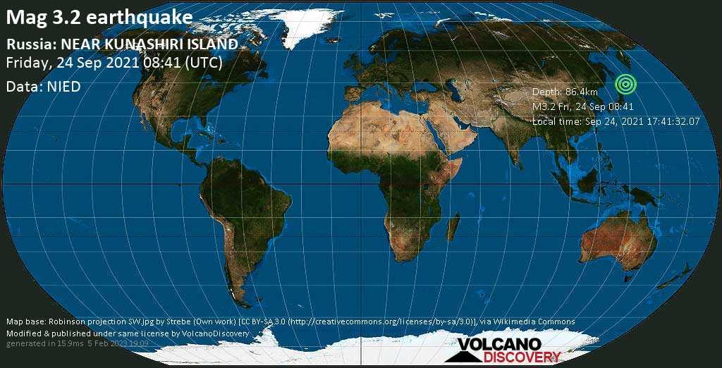 Séisme mineur mag. 3.2 - Sea of Okhotsk, 34 km au nord-ouest de Shikotan, Oblast de Sakhaline, Russie, vendredi, 24 sept. 2021 18:41 (GMT +10)