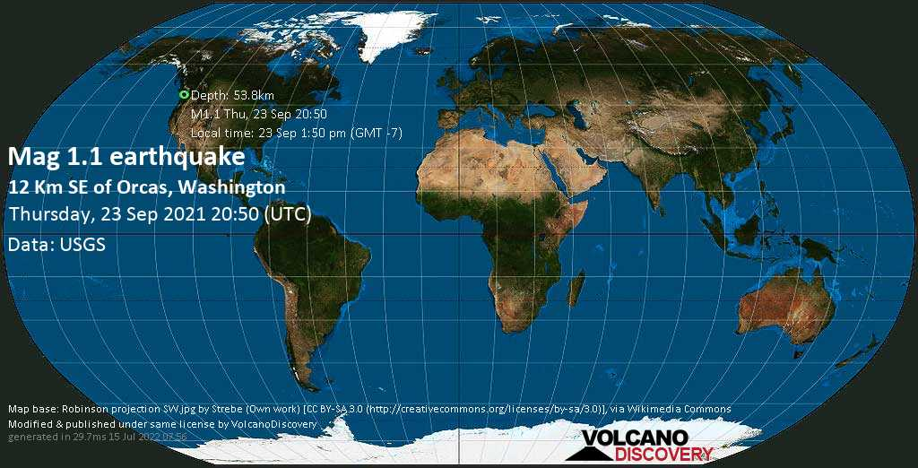 Minor mag. 1.1 earthquake - 12 Km SE of Orcas, Washington, on Thursday, Sep 23, 2021 1:50 pm (GMT -7)