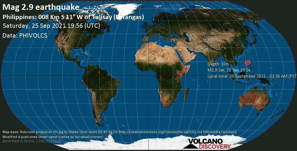 Sismo leggero mag. 2.9 - Province of Batangas, 12 km a sud-est da Tagaytay, Filippine, domenica, 26 set 2021 03:56 (GMT +8)