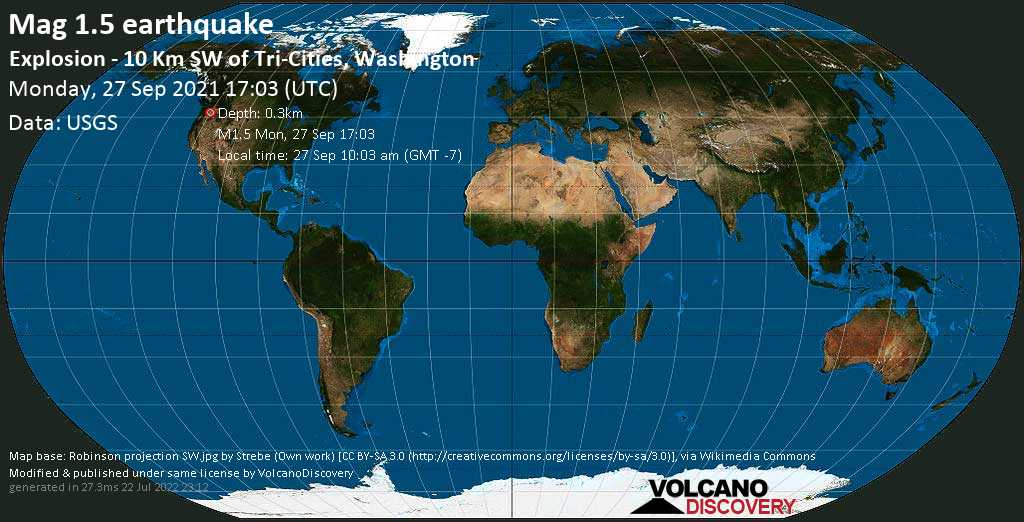 Minor mag. 1.5 earthquake - Explosion - 10 Km SW of Tri-Cities, Washington, on Monday, Sep 27, 2021 10:03 am (GMT -7)