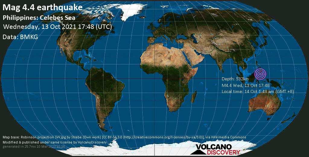 Leichtes Erdbeben der Stärke 4.4 - Celebes Sea, 277 km südwestlich von Koronadal City, Philippinen, am Donnerstag, 14. Okt 2021 um 01:48 Lokalzeit