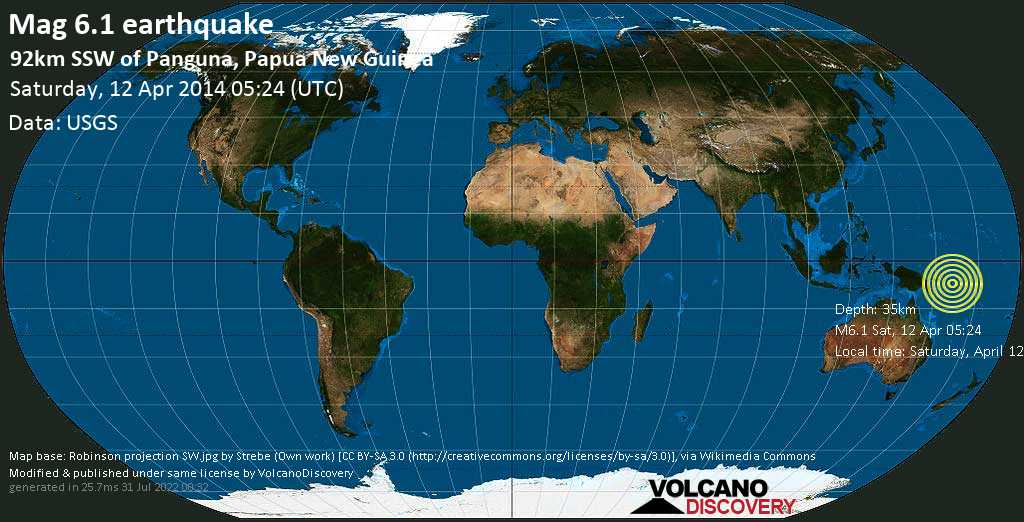 Strong mag. 6.1 earthquake  - 92km SSW of Panguna, Papua New Guinea on Saturday, 12 April 2014