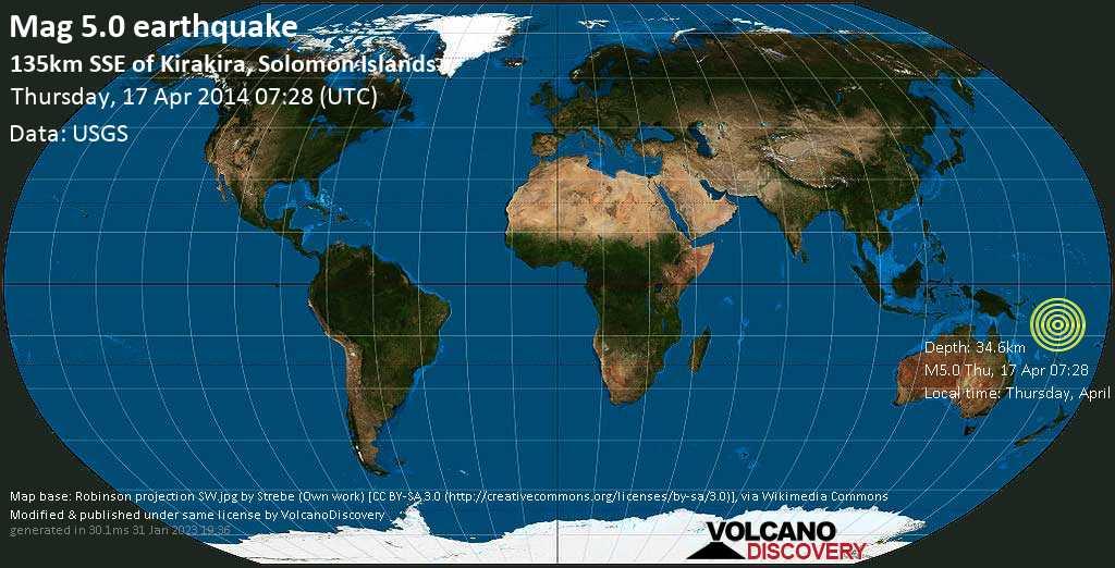 Moderate mag. 5.0 earthquake  - 135km SSE of Kirakira, Solomon Islands, on Thursday, April 17, 2014 18:28:43
