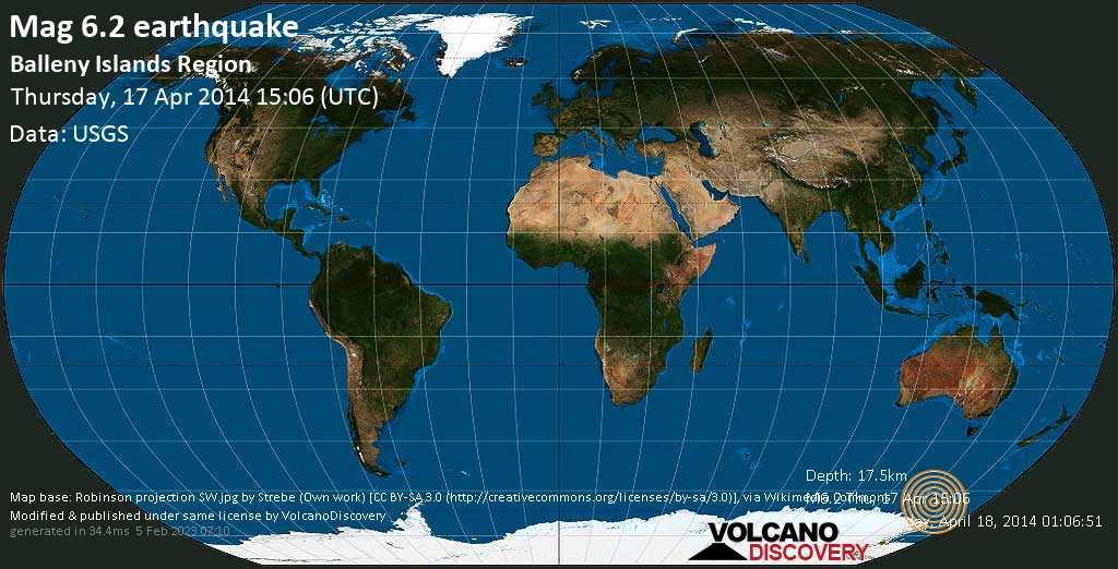 Strong mag. 6.2 earthquake  - Balleny Islands Region on Thursday, 17 April 2014