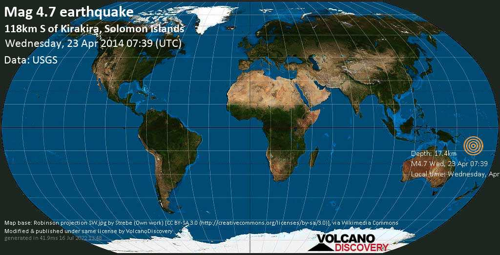 Mag. 4.7 earthquake  - 118km S of Kirakira, Solomon Islands, on Wednesday, April 23, 2014 18:39:08