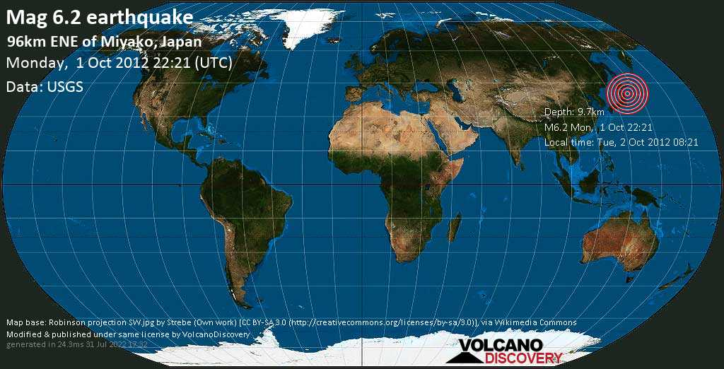 Strong mag. 6.2 earthquake  - North Pacific Ocean, 97 km east of Miyako, Iwate, Japan, on Tue, 2 Oct 2012 08:21