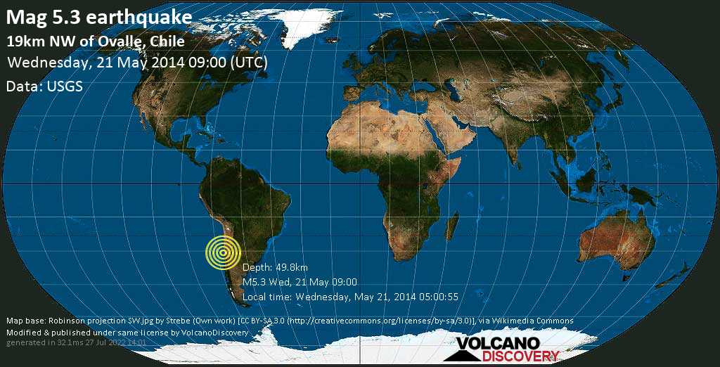 Moderate mag. 5.3 earthquake - Limarí, 20 km northwest of Ovalle, Provincia de Limari, Coquimbo Region, Chile, on Wednesday, May 21, 2014 05:00:55