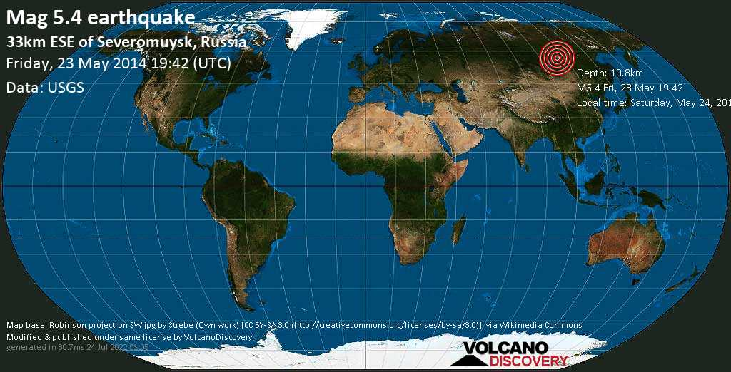 Moderate mag. 5.4 earthquake  - 33km ESE of Severomuysk, Russia on Friday, 23 May 2014