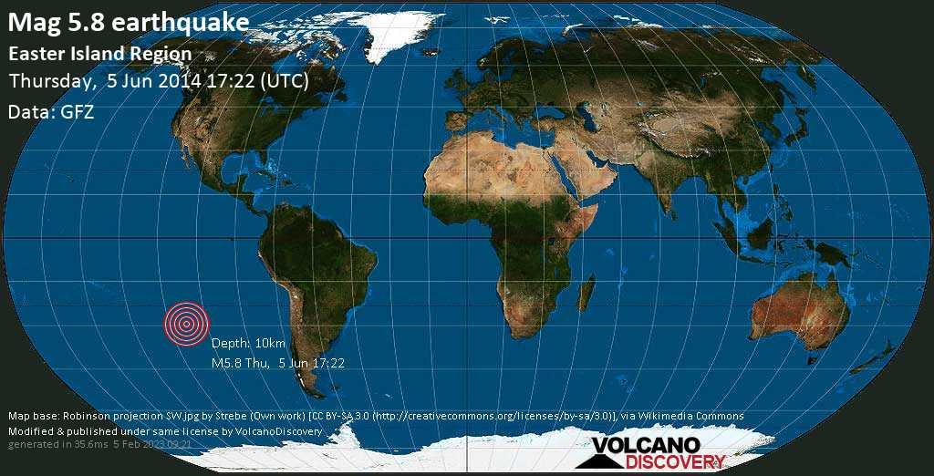 Moderate mag. 5.8 earthquake  - South Pacific Ocean, 3975 km west of Santiago, Provincia de Santiago, Santiago Metropolitan, Chile, on Thursday, 5 June 2014 at 17:22 (GMT)