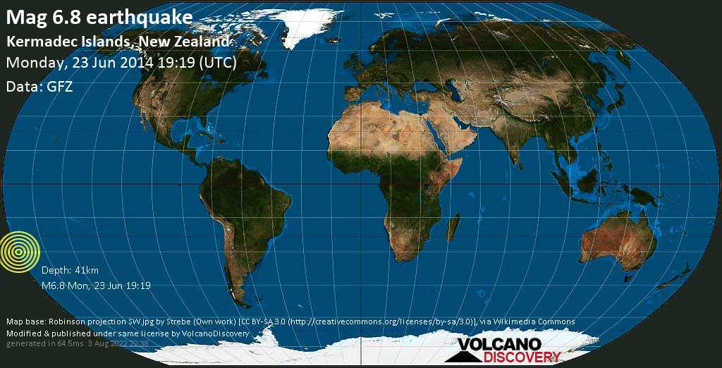 Strong mag. 6.8 earthquake  - South Pacific Ocean, 1414 km northeast of Wellington, Wellington City, New Zealand, on Monday, 23 June 2014 at 19:19 (GMT)
