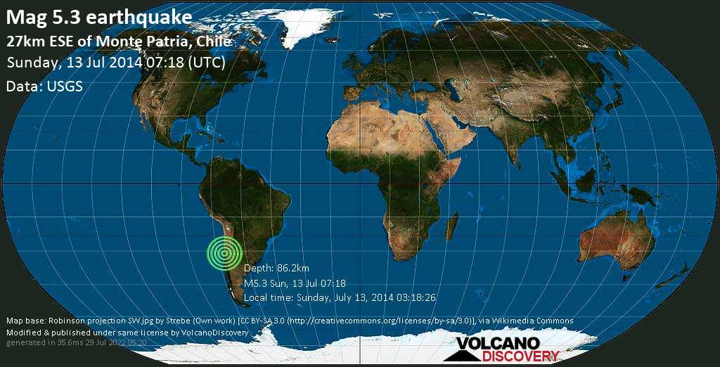 Moderate mag. 5.3 earthquake - Limarí, 28 km east of Monte Patria, Provincia de Limari, Coquimbo Region, Chile, on Sunday, July 13, 2014 03:18:26
