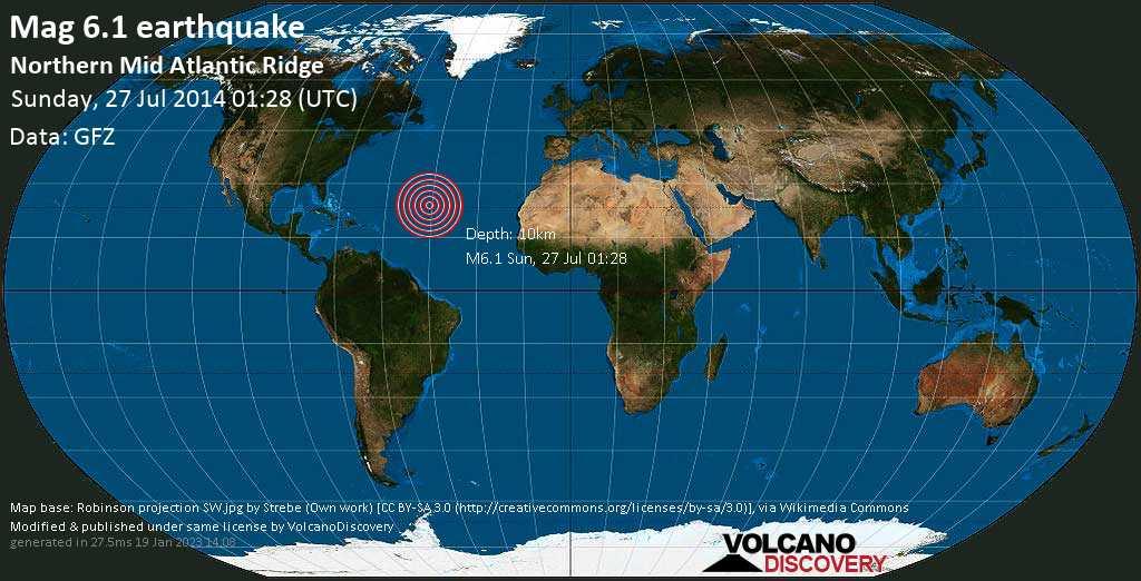 Starkes Erdbeben der Stärke 6.1 - Northern Mid Atlantic Ridge am Sonntag, 27. Jul. 2014