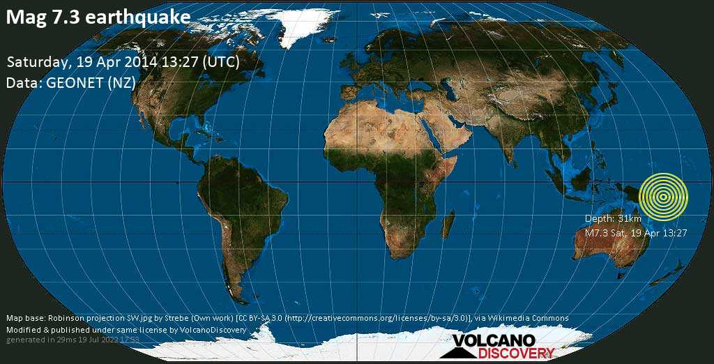 Major mag. 7.3 earthquake  -  on Saturday, 19 April 2014