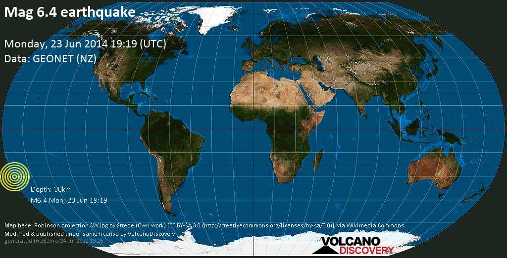 Strong mag. 6.4 earthquake  - South Pacific Ocean, 1457 km northeast of Wellington, New Zealand, on Monday, 23 June 2014 at 19:19 (GMT)