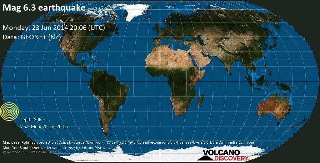 Strong mag. 6.3 earthquake  - South Pacific Ocean, 1475 km northeast of Wellington, Wellington City, New Zealand, on Monday, 23 June 2014 at 20:06 (GMT)