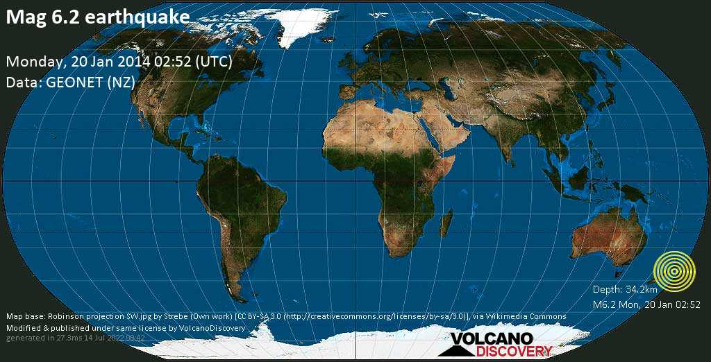 Strong mag. 6.2 earthquake - 36 km southeast of Palmerston North, Manawatu-Wanganui, New Zealand, on Monday, 20 January 2014 at 02:52 (GMT)