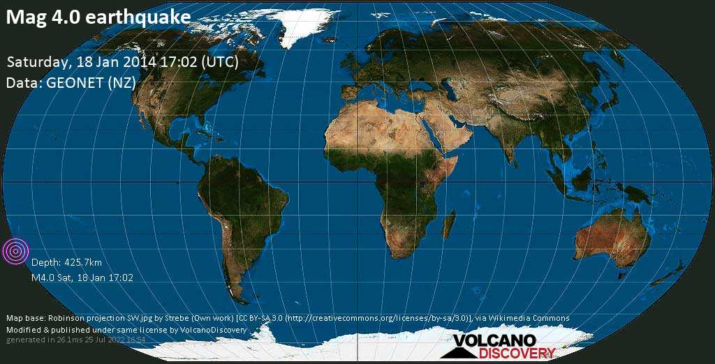 Mag. 4.0 earthquake  - South Pacific Ocean, 1255 km northeast of Wellington, New Zealand, on Saturday, 18 January 2014 at 17:02 (GMT)