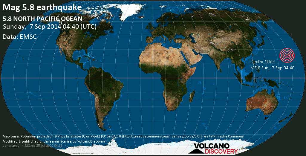 Moderate mag. 5.8 earthquake  - North Pacific Ocean on Sunday, 7 September 2014 at 04:40 (GMT)