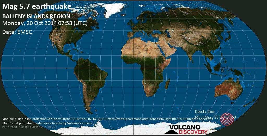 Moderado terremoto magnitud 5.7 - South Pacific Ocean, lunes, 20 oct. 2014