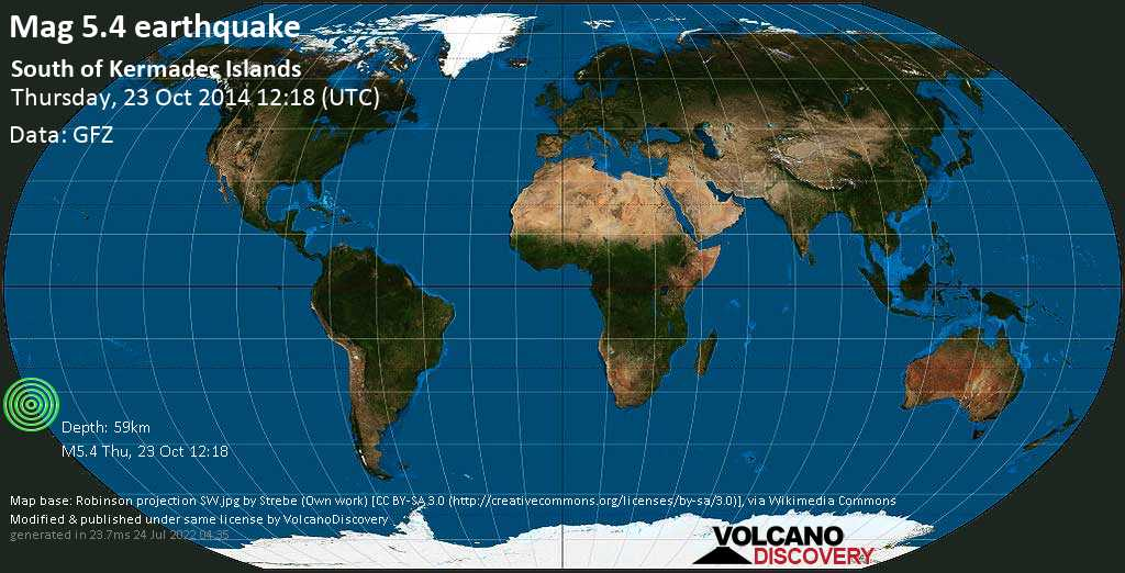 Moderado terremoto magnitud 5.4 - South Pacific Ocean, 1043 km NNE of Wellington, New Zealand, jueves, 23 oct. 2014