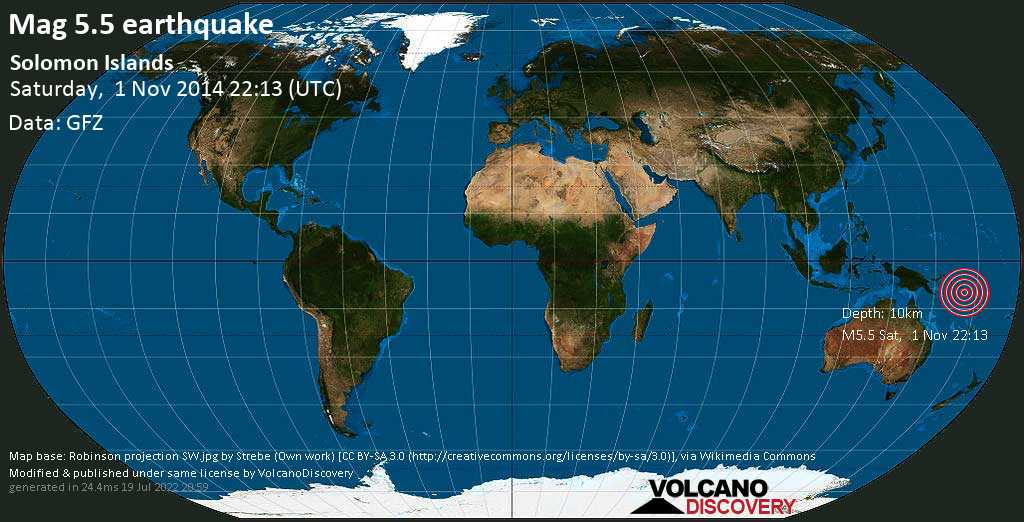 Strong mag. 5.5 earthquake - 12 km southeast of Malango, Guadalcanal Province, Solomon Islands, on Saturday, 1 November 2014 at 22:13 (GMT)