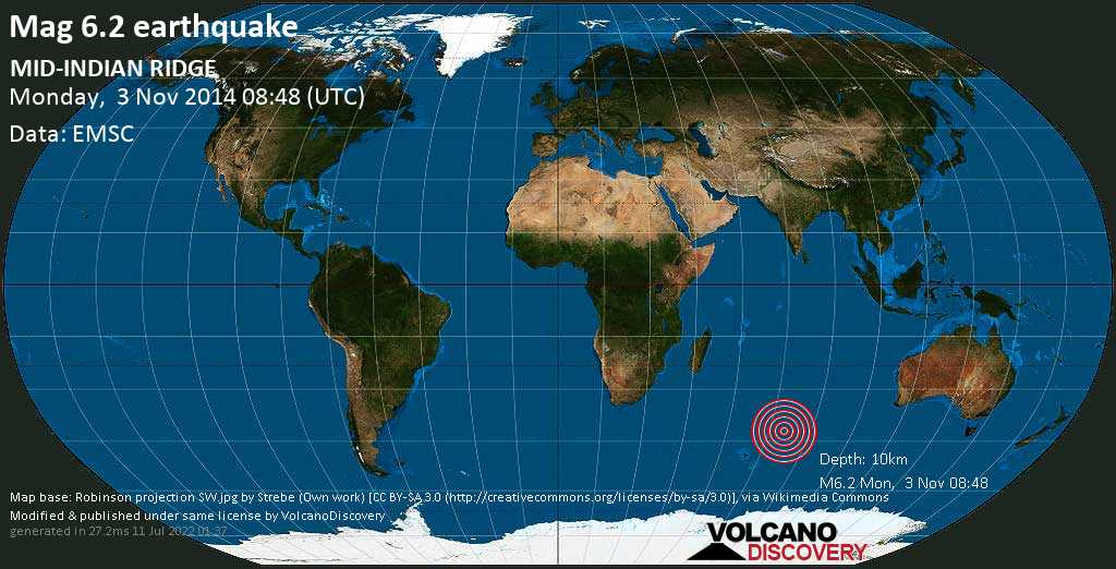 Fuerte terremoto magnitud 6.2 - Indian Ocean, lunes, 03 nov. 2014