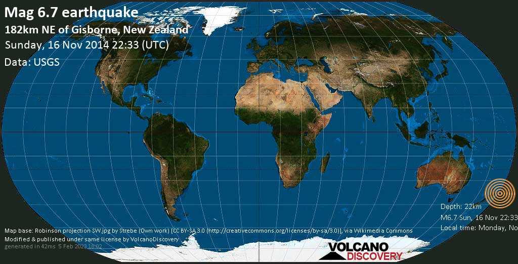 Fuerte terremoto magnitud 6.7 - South Pacific Ocean, 182 km NE of Gisborne, New Zealand, domingo, 16 nov. 2014