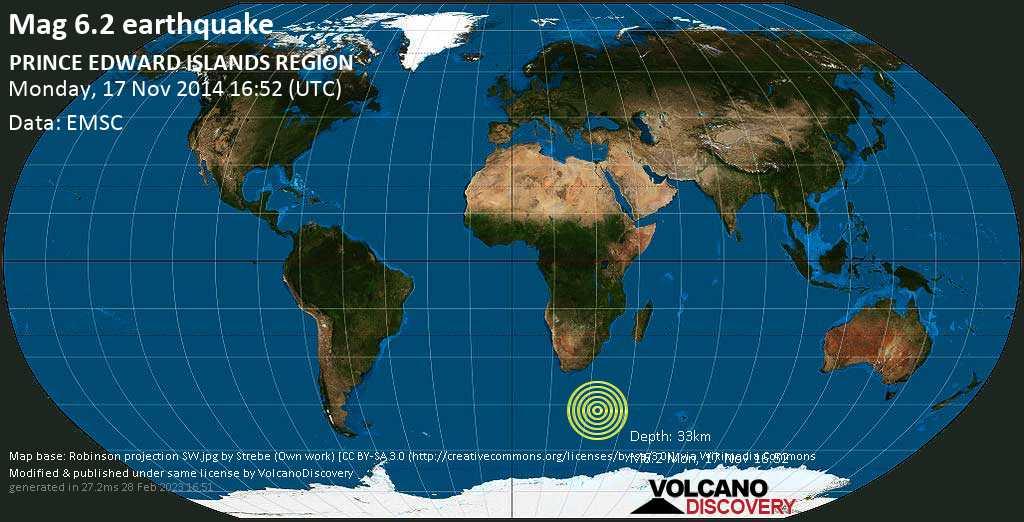 Fuerte terremoto magnitud 6.2 - Indian Ocean, 2366 km SSE of Pretoria, South Africa, lunes, 17 nov. 2014