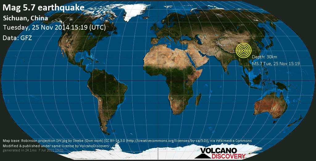 Moderado terremoto magnitud 5.7 - 25 km NNW of Kangding, Garzê, Sichuan, China, martes, 25 nov. 2014