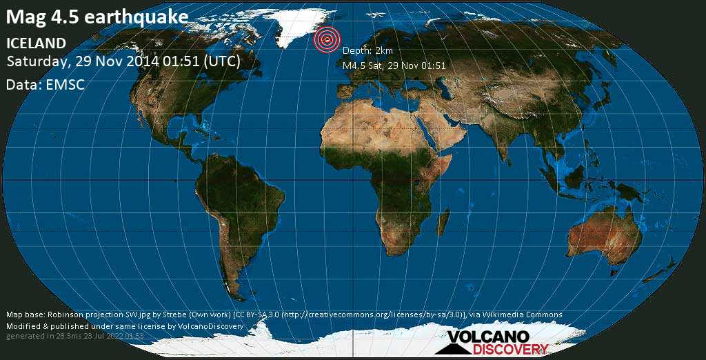 Moderate mag. 4.5 earthquake - Sveitarfélagið Hornafjörður, East, 70 km northeast of Kirkjubaejarklaustur, Iceland, on Saturday, 29 November 2014 at 01:51 (GMT)