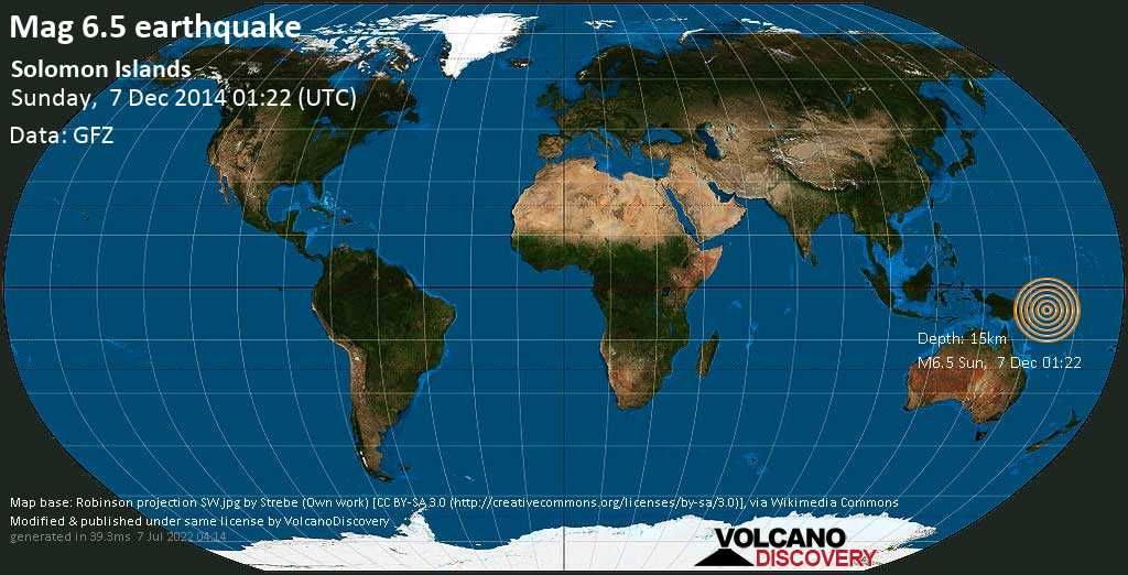 Fuerte terremoto magnitud 6.5 - Solomon Sea, 73 km WSW of Torokina Islet Island, Papua New Guinea, domingo, 07 dic. 2014