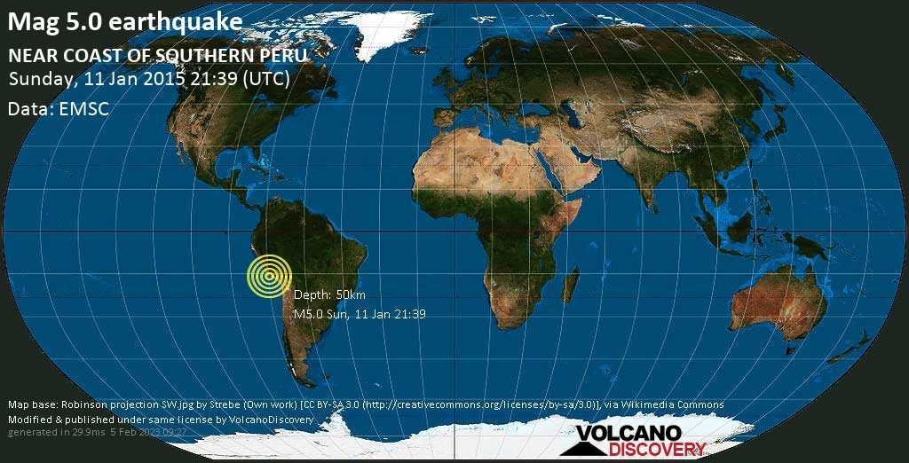 Moderate mag. 5.0 earthquake - 9.4 km north of Huancalpa, Provincia de Caraveli, Arequipa, Peru, on Sunday, 11 January 2015 at 21:39 (GMT)