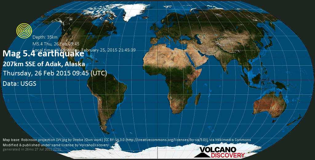 Strong mag. 5.4 earthquake - North Pacific Ocean, 128 mi south of Adak, Aleutians West County, Alaska, USA, on Wednesday, February 25, 2015 21:45:39