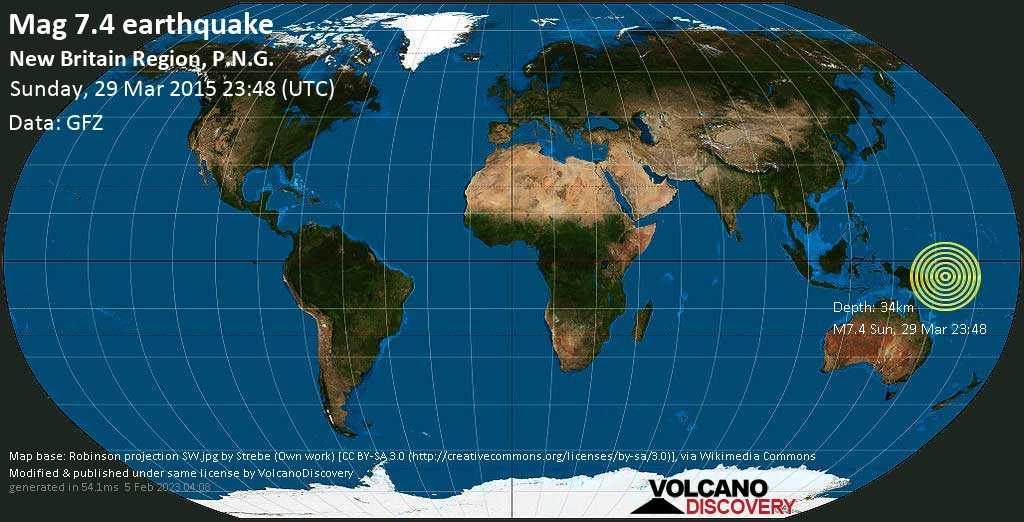 Major mag. 7.4 earthquake  - New Britain Region, P.N.G. on Sunday, 29 March 2015