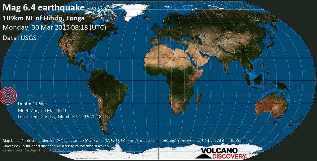 Strong mag. 6.4 earthquake  - 109km NE of Hihifo, Tonga, on Sunday, March 29, 2015 20:18:00