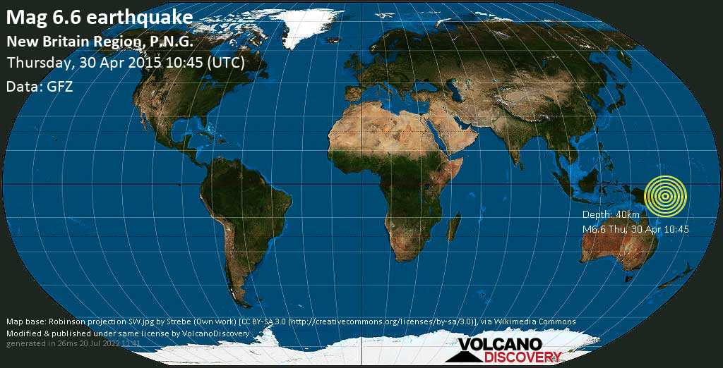 Very strong mag. 6.6 earthquake - n/a, 128 km southwest of Kokopo, East New Britain Province, Papua New Guinea, on Thursday, 30 April 2015 at 10:45 (GMT)