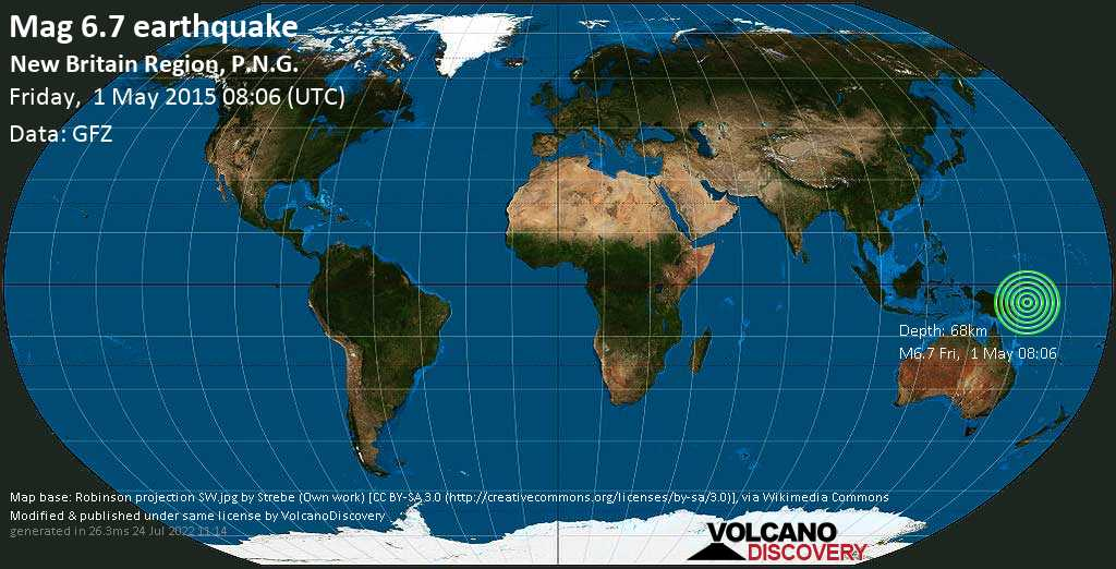 Strong mag. 6.7 earthquake  - n/a, 116 km southwest of Kokopo, Kokopo District, East New Britain Province, Papua New Guinea, on Friday, 1 May 2015 at 08:06 (GMT)