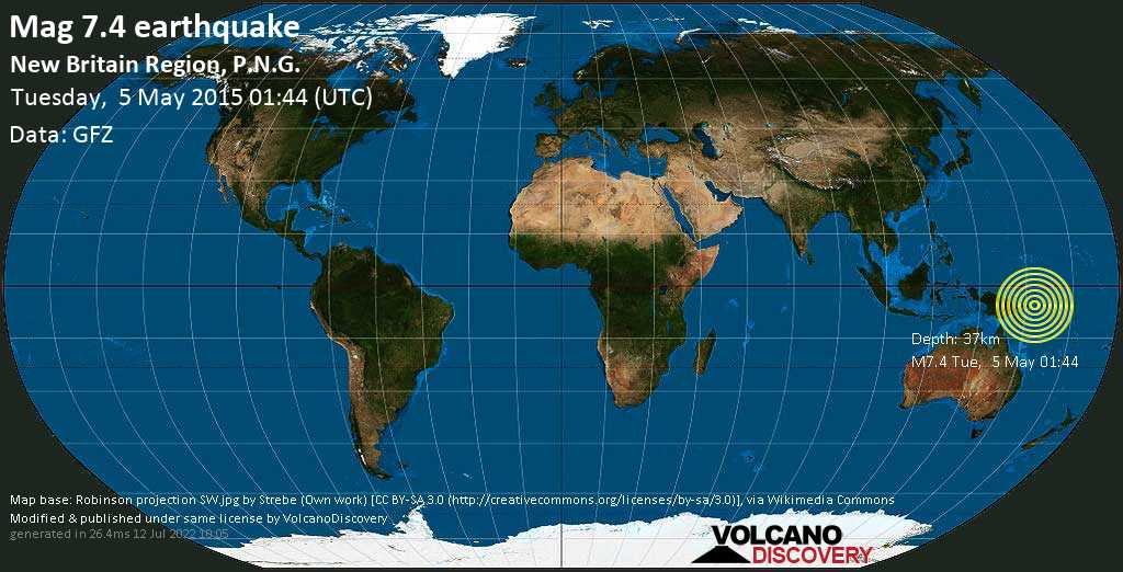 Major mag. 7.4 earthquake  - New Britain Region, P.N.G. on Tuesday, 5 May 2015