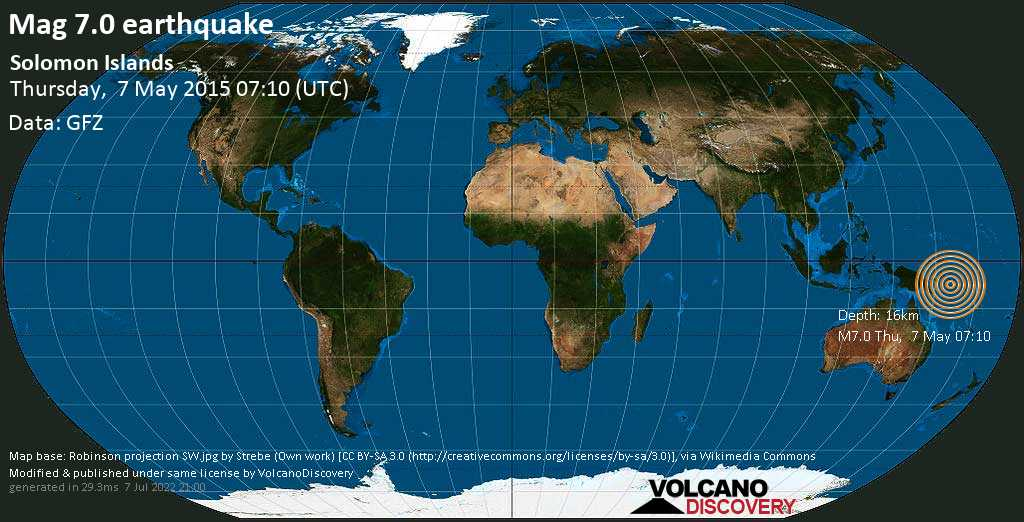 Major mag. 7.0 earthquake  - Solomon Islands on Thursday, 7 May 2015
