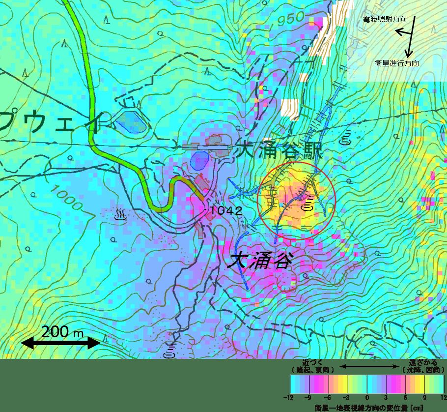 Deformation at Hakone volcano (Owakudani valley in circle) during 7-21 May based on interference SAR data (GSI)