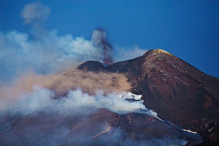 Strombolian activity and lava flow