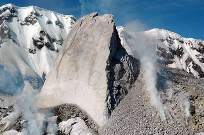 The 300 ft spine of Mt. St. Helens as on 6 May, 2006 (USGS photo).