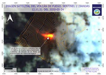 Lava flow in Seca direction from satellite (image: INSIVUMEH/facebook)