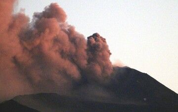 Explosion from Etna volcano today (image: INGV)