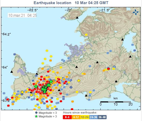 Figure 1. Earthquake location map as of 10 Mar 2021. Recent earthquakes focused in areas between Fagradalsfjall and Keillir. (source: IMO)